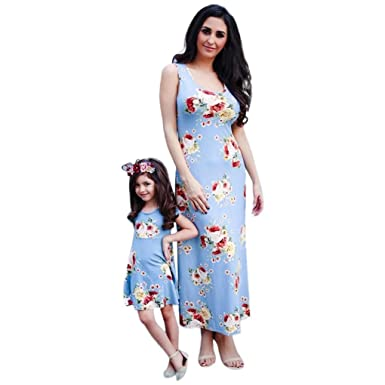 Image Unavailable. Image not available for. Color  Kehen Mommy and Me Kids  Toddler Girl Short Sleeve Flower Printy Sundress Summer Family Dress  Matching d0a957e8207f