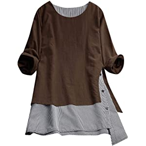 dc5719a18ffa TWGONE Tunic Tops for Leggings for Women Plus Size Long Sleeve Buttons Tee  Shirt Lattice Loose
