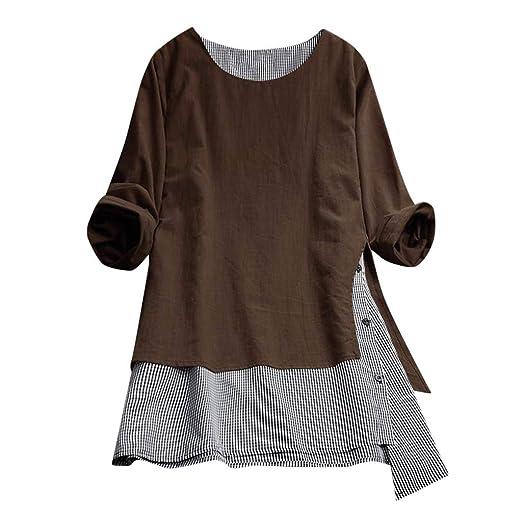 9e662b244ab6ef FEDULK Womens Plus Size Blouse Lattice Print Patchwork Loose Casual Tops  Tee Tunic Sweatshirt(Brown