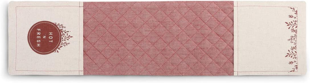 Hot N'Fresh Quilted Vintage Red 30 x 8 Cotton Blend Fabric Double Oven Mitt
