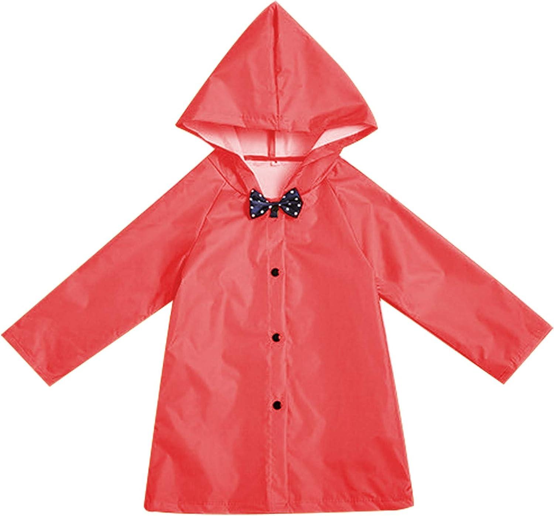 GRNSHTS Age 2-10 Years Kids Raincoat with Bows Boy Girl Hooded Button Down Long Jacket Rainwear Outdoor