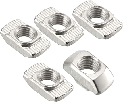 Carbon Steel Nickel-Plated uxcell Sliding T Slot Nuts M3 Half Round Roll in T-Nut for 2020 Series Aluminum Extrusion Profile Pack of 10
