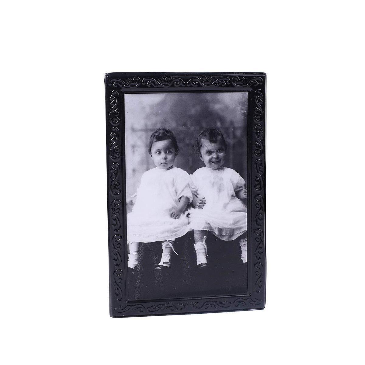 """/""""Jumeaux/"""" Grimace Visage LHXHL Halloween Horreur Cadre Photo Lenticulaire 3D Accessoires,Ghost Morphing Changement en Mouvement Haunted Peinture Cadre Maison Hant/é Party Bar Props 38 25Cm"""