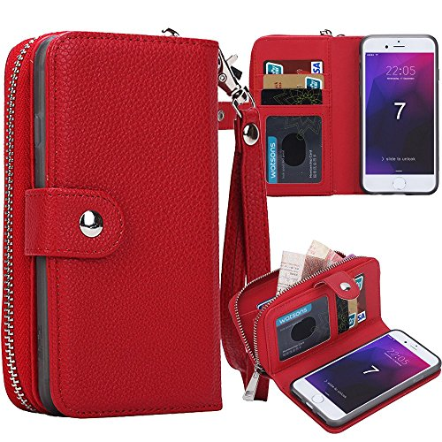 (iPhone Xr Case,Spritech Zipper Wallet Type Flip Folio Premium Leather Credit Card Holder Case with Wrist Strap - Detachable Magnetic Back Cover for iPhone Xr 6.1