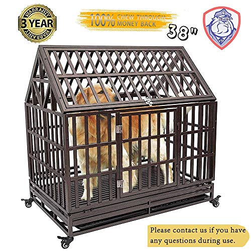 Heavy Duty Dog Cage Roof Strong Metal Kennel and Crate for Large...