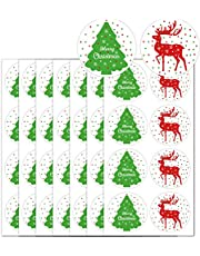 2 Inch Merry Christmas Tree Stickers Seals Labels - Christmas Stickers/Christmas Tags/Holiday Present Sticker Envelop Seals for Cards Bags Package