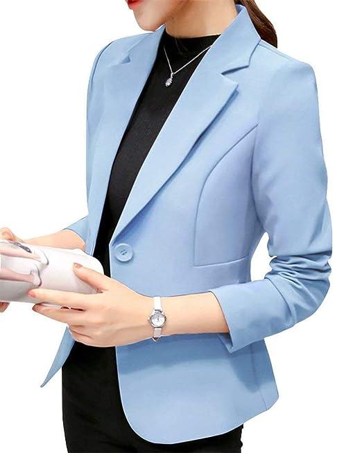 9266f78f4f44 Blazer Mujer Cortos Elegante De Solapa Formal Oficina Basic Negocios ...