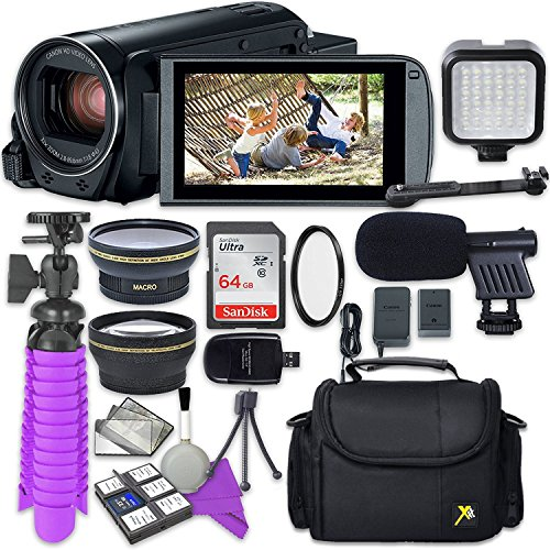 - Canon VIXIA HF R800 Camcorder with Sandisk 64 GB SD Memory Card + 2.2x Telephoto Lens + 0.42x Wideangle Lens + Video Accessory Bundle
