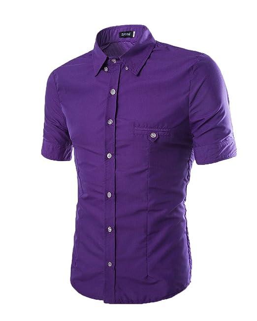 Casual Camiseta con Botones Slim Fit De Manga Corta Camiseta para Hombre  Púrpura XL  Amazon.es  Ropa y accesorios 5cad19575be08
