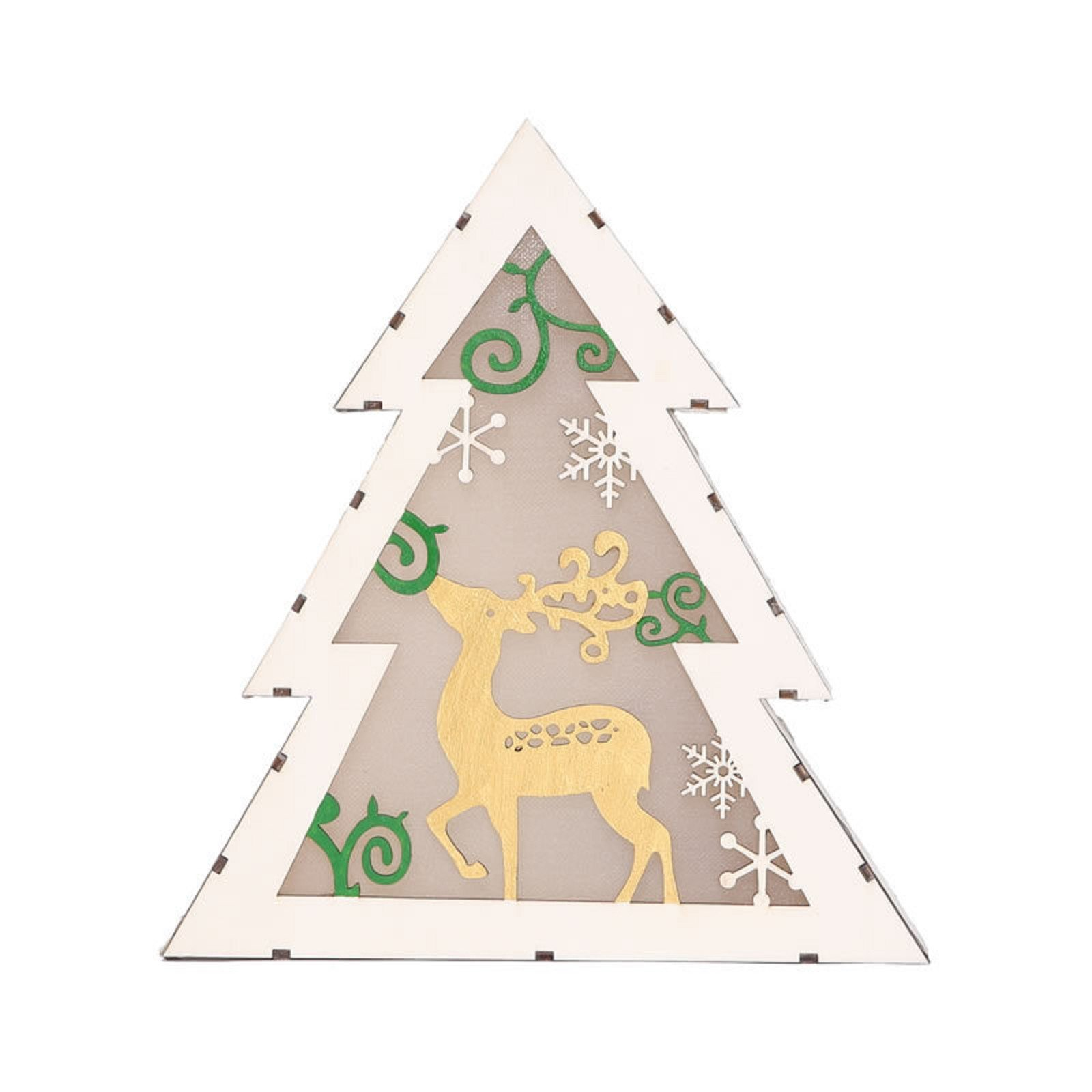 MZS Tec Christmas Decorations, LED Wood Ornament, Christmas Tree Shape Wood Light Elk Display Window Table Decor (A)