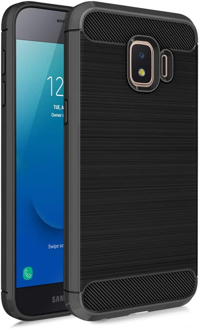Samsung Galaxy J2 Core Case, J2 2019/ J2 Dash/ J2 Pure/ J2 Shine/SM-J260 Phone Case with Screen Protector,Carbon Fiber Soft TPU Brushed Texture Slim Fit Full-Body Protective Cover for Men/Boys, Black