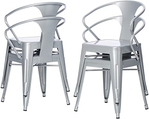 Silver Tabouret 3522 Stacking Chairs Set of 4 .