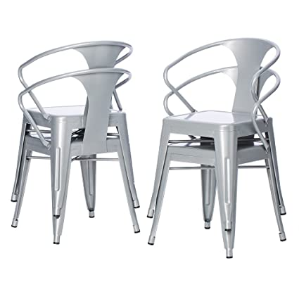amazon com silver tabouret 3522 stacking chairs set of 4