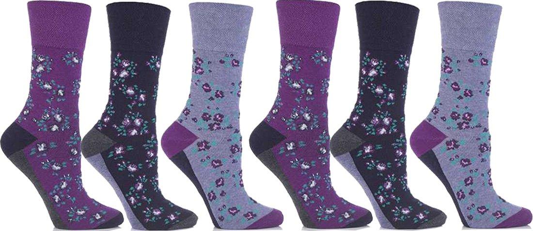 Get Top Marketing Women's Non Elastic, Gentle Grip, Diabetic Socks 6 Pair Pack Purple Floral
