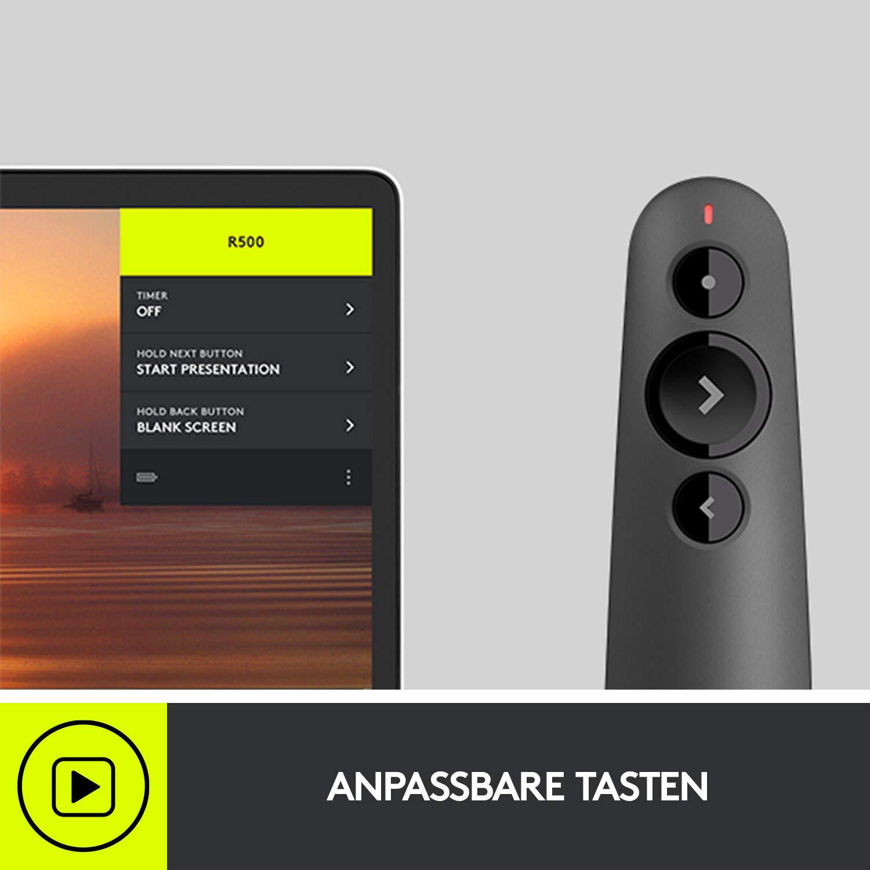 20 Meter Reichweite Universelle Kompatibilit/ät Logitech R500 Laser-Presenter mit Bluetooth und USB-Verbindung konfigurierbar intelligente Batterienutzung mit 12 Monaten Nutzungsdauer Schwarz