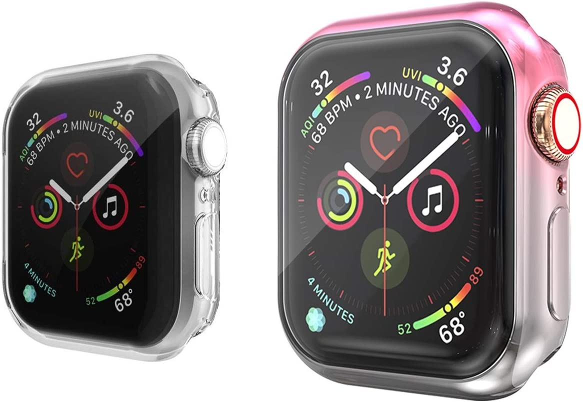 Greaciary 2-Pack Screen Protector Case Compatible with Apple Watch Series 5/4/3/2/1 38mm/40mm/42mm/44mm, Soft TPU Gradient Color Case All Around Protective Cover Bumper Shell (Pink Gray, 44 mm)
