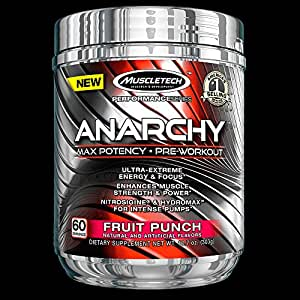 MuscleTech Anarchy, Max Potency Pre-Workout Powder, Fruit Punch, 60 Servings, 10.7 oz (303g)