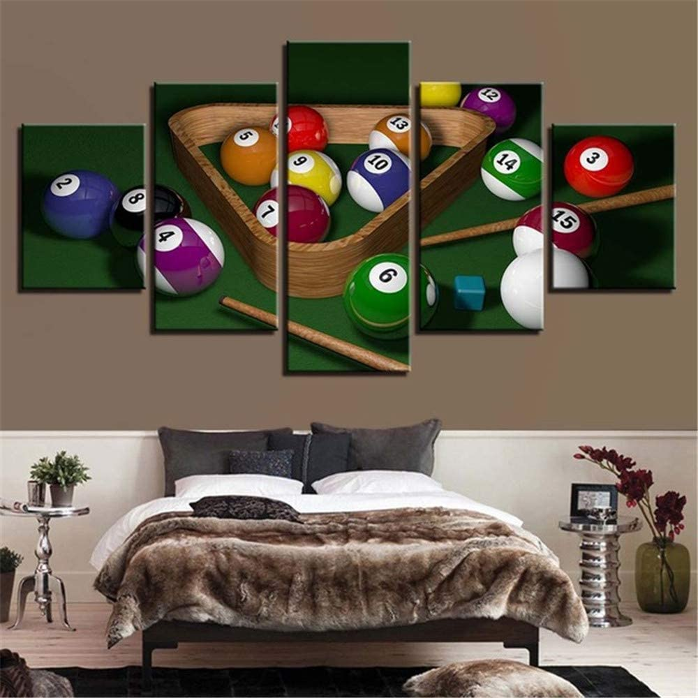 Whian Home Living Room Wall Decoration Hang 100% Hand Painted Modern Wall Art Decor Oil Painting On Canvas DIY 5Pcs/Set Billiard Sports 25x10 20x10 15x10(cm) Frame