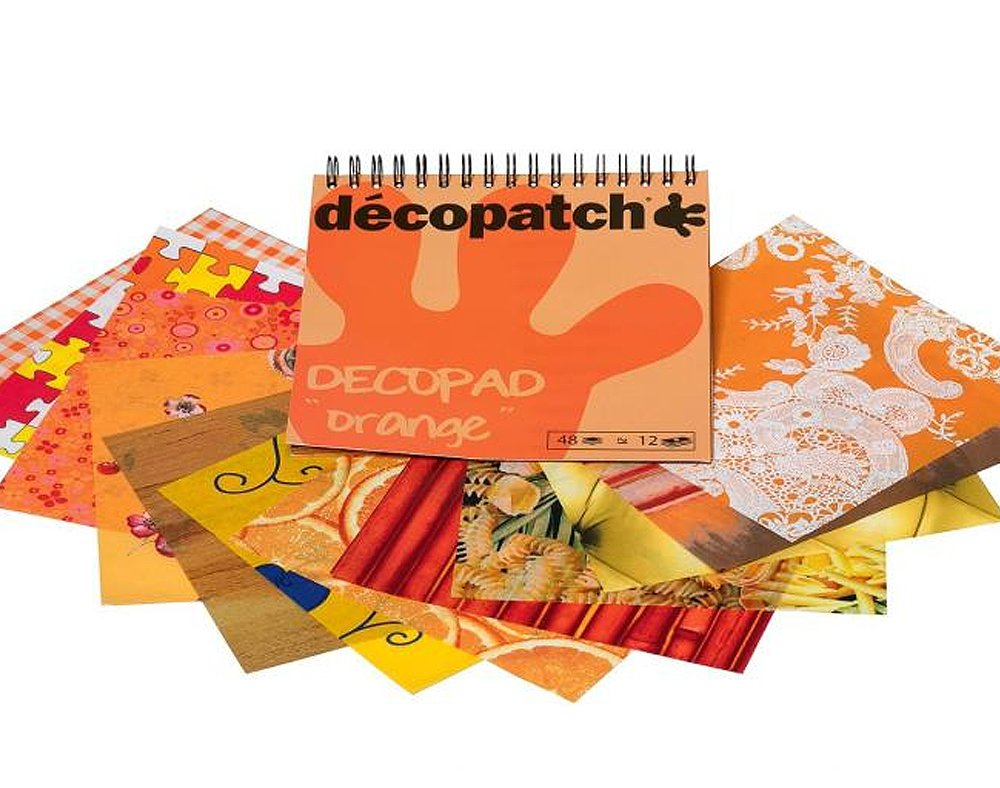 Orange 48 Sheet Decopatch Decopad Paper Pack for Decoupage Crafts Crafty Capers