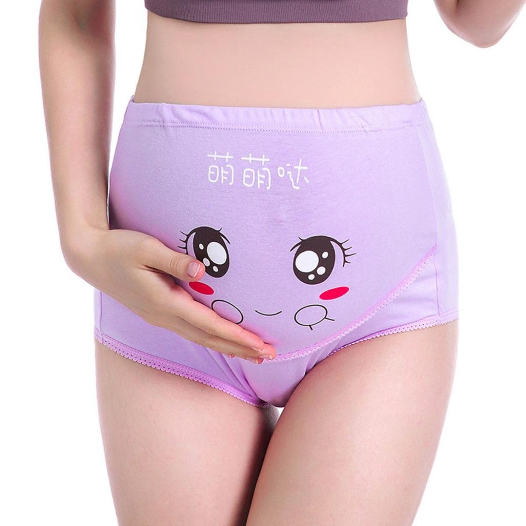 Maternity Panties, SUKEQ Women's Adjustable High Cut Cotton Over Bump Underwear Brief Cartoon Smile Seamless Soft Cover Belly Pant (Medium, Purple)