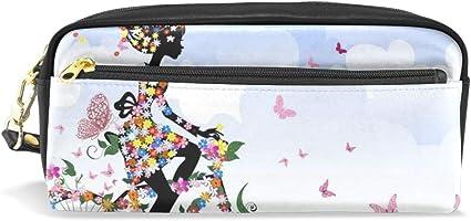 JSTEL - Estuche escolar con diseño de mariposas para niños, niños, adolescentes, cosméticos, maquillaje, neceser para mujer, bolsa de papelería duradera de gran capacidad: Amazon.es: Oficina y papelería