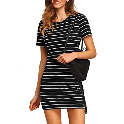 Floerns Women's Casual Short Sleeve Striped Bodycon T-Shirt Dress at Women's Clothing store