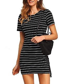 e5fa627ccf Tenworld Women Crew Neck Short Sleeve Striped Loose T-Shirt Mini ...