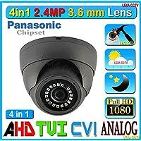 4in1 LexaCCTV 2.4MP 1080P AHD CVI TVI Analog 1/3 Panasonic Sensor 3.6mm Lens Vandal Weather Water Proof Night Vision BNC Connection Outdoor CCTV