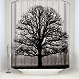 Prime Leader Mildew Resistant Shower Curtain-Tree Silhouette Waterproof Bathroom Fabric Shower Curtains,72'(w) x 72'(h) Bathroom Decor with Hooks