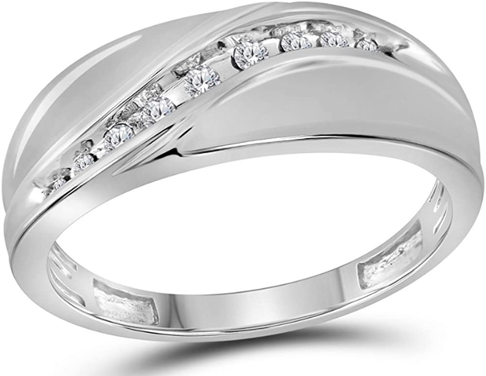 ctw H-I, I2-I3 Mens Diamond Wedding Band 1//8 Carat in 10K White Gold