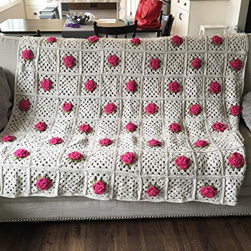 Linen and roses crocheted afghan throw blanket elegant old world vintage pattern 3 D roses