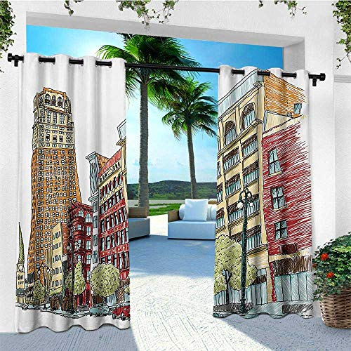 - leinuoyi European, Outdoor Curtain Pair, Grunge Graphic of European Avenue Modern Urban Life Downtown City Streets, Balcony Curtains W84 x L108 Inch Red and Orange