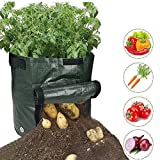 ZIQIAN Garden Planter Grow Bags with Access Handles and Flap for Harvesting, Grow Vegetables Plant Tub for Potato, Carrot, Tomato, Onion - 10 Gallon Heavy Duty & Durable Bags (4-Pack)