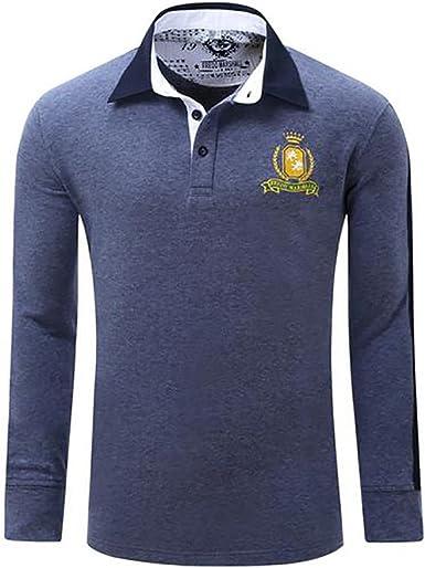 Hombres Camiseta de manga larga de golf Camiseta de polo de punto ...