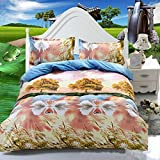 Vivona 3 Or 4pcs 3D Swan Lake Reactive Dyeing Polyester Fiber Bedding Sets Twin Queen Size - (Size: Queen Size)
