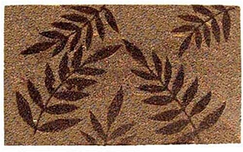 Geo Crafts 18-Inch-by-30-Inch PVC Backed Coir Doormat, Five Fern, Light Brown