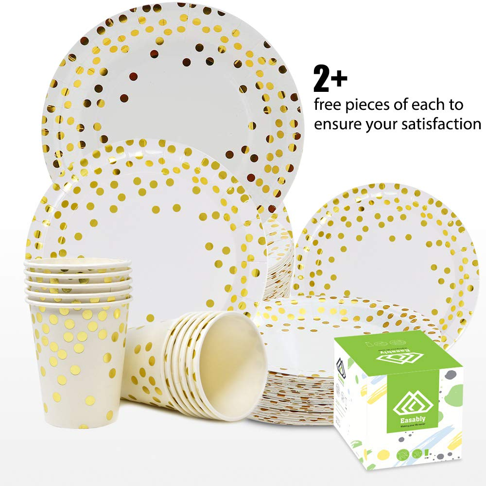 Easably 150 Gold dot disposable paper plates set: 50 dinner plates, 50 dessert plates, 50 cups 9oz for wedding, birthday, anniversary, bridal baby shower, NewYear, Thanksgiving, Christmas 6FREE pieces by Easably