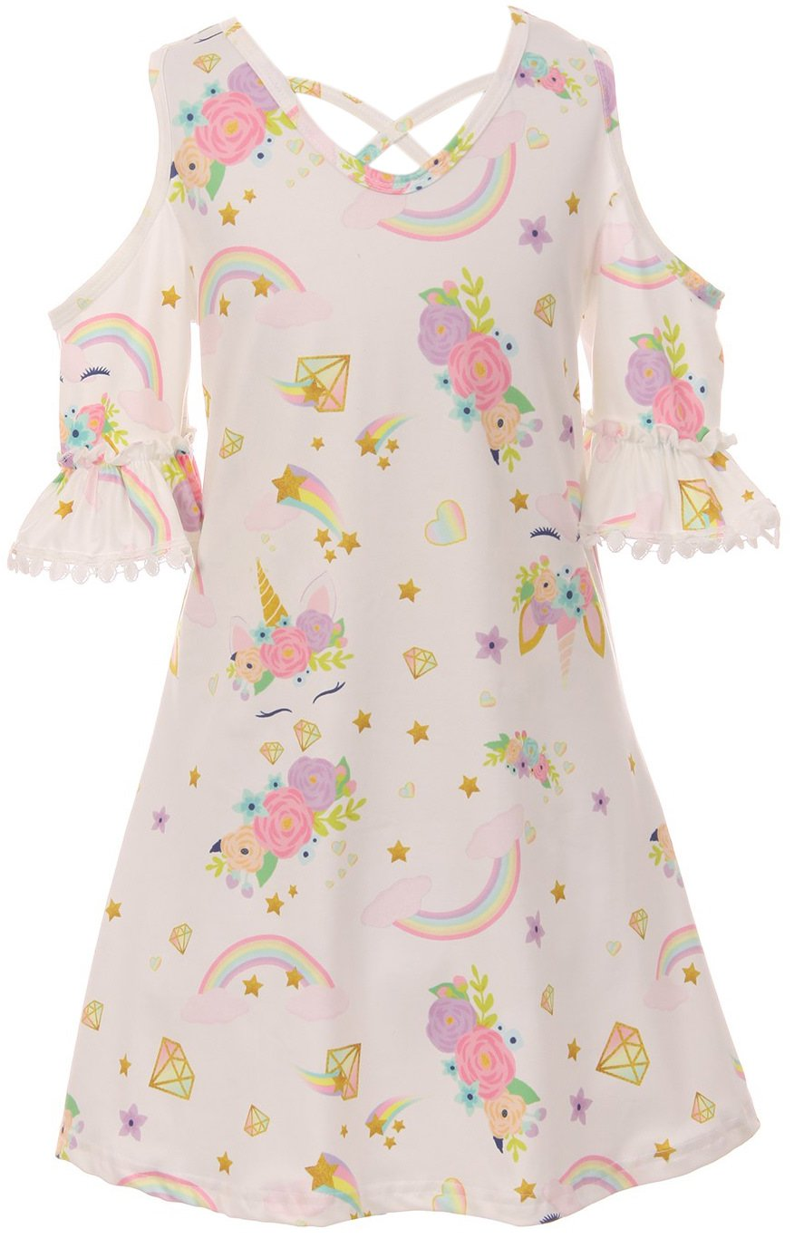 Big Girl Cold Shoulder Unicorn Print Casual Party Dress Off White 8 3XL 201539