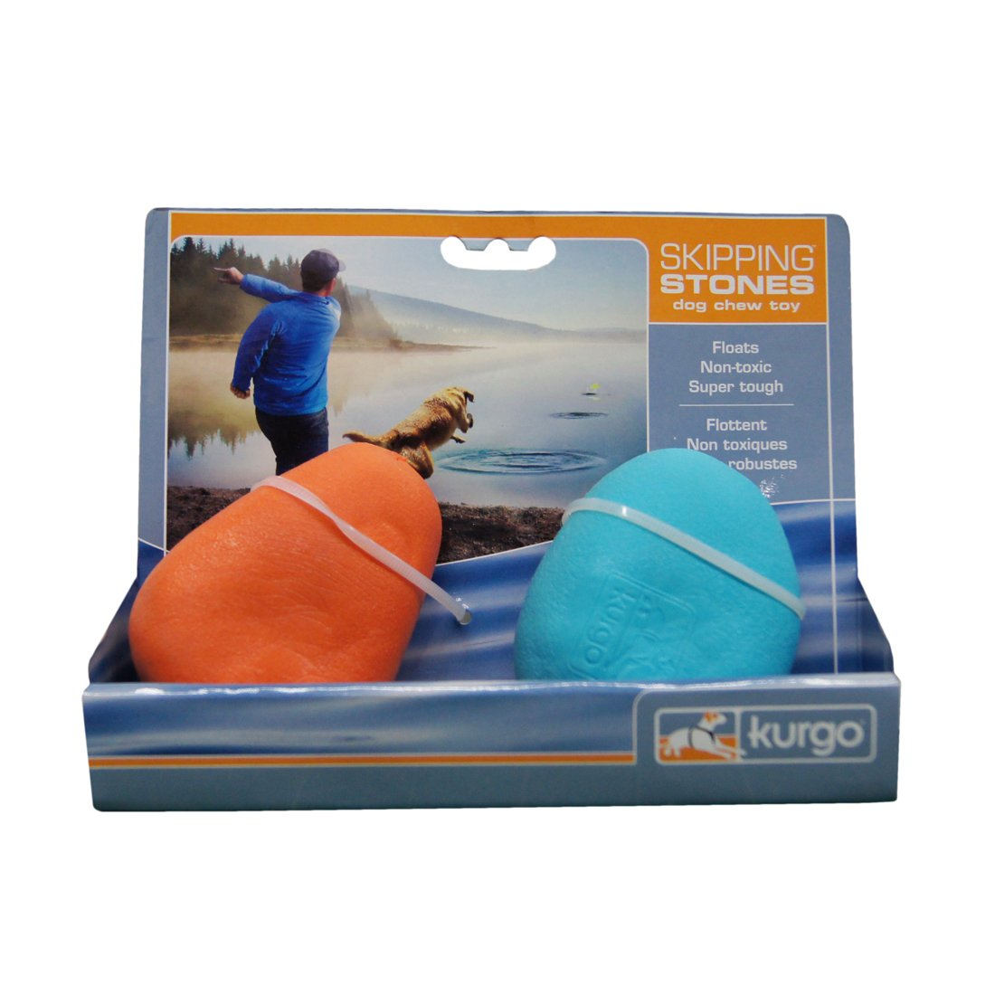 Kurgo Skipping Stones Neon Dog Water Toys for Fetching – 2 Pack (Colors Vary)
