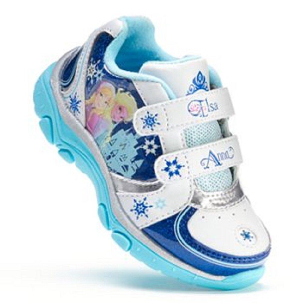 Disney Frozen Elsa Anna Sneaker Toddler Girl's Shoes - Light Up, Blue/white