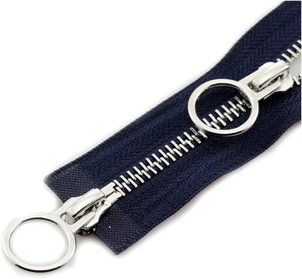 1pc 70//90cm doble recorrido de extremo abierto cremalleras met/álicas para abajo cubren la chaqueta 70cm Bolsa DIY de coser Accesorios Amarillo