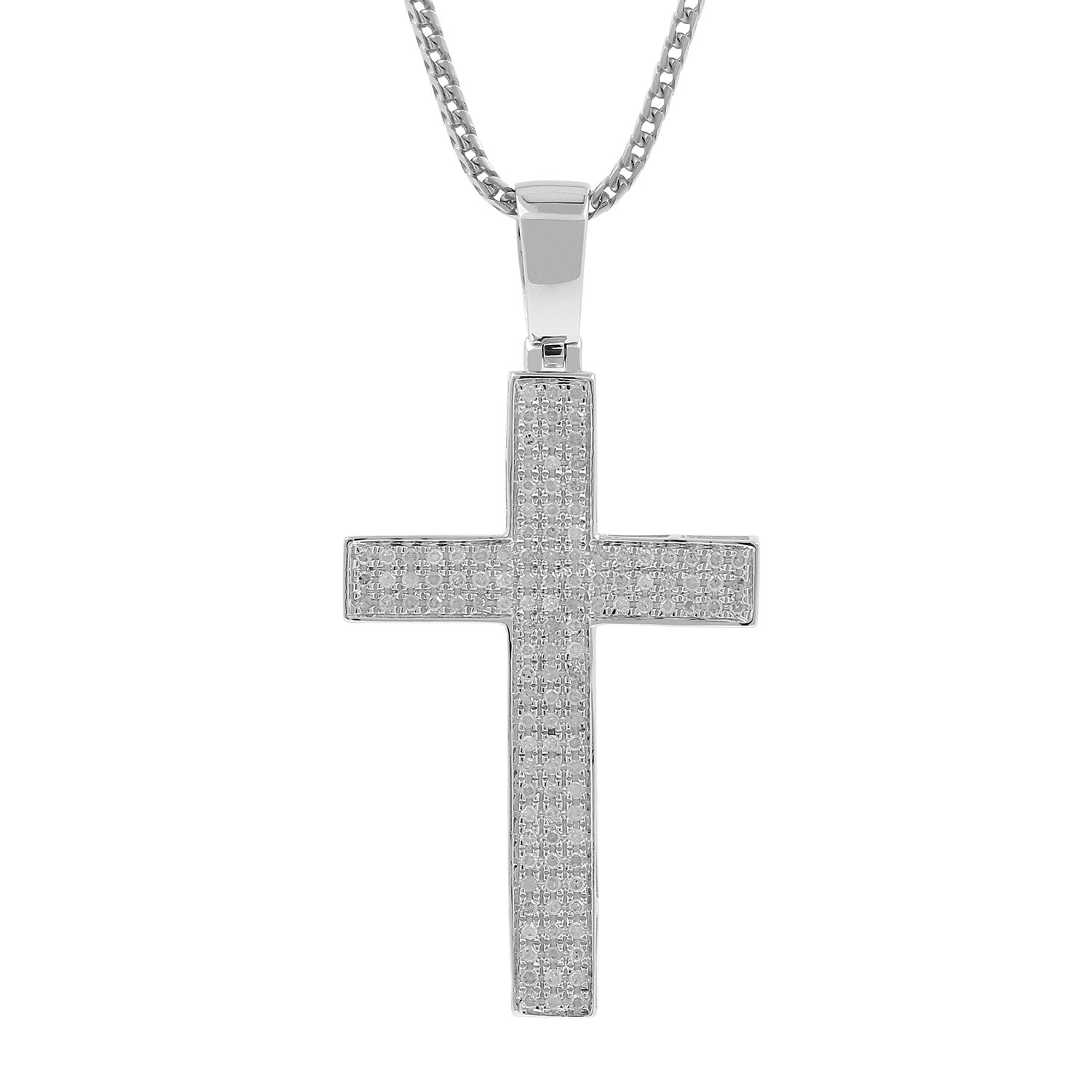 0.52ct Diamond Pave 3 Row Mens Hip Hop Cross Pendant Necklace in 925 Silver (I-J, I3)