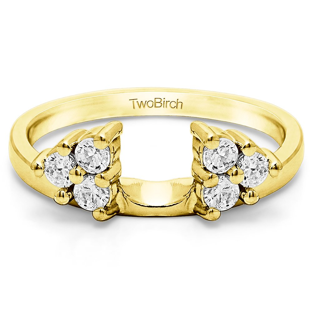 Diamond Three Stone Ring Wrap Enhancer in 10K Yellow Gold G-H I2(0.12Ct)Size 3 To 15 in 1/4 Size Interval