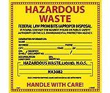 National Marker Labels, Hazardous Waste (For Liquids), 6X6, Ps Vinyl, 25/Pk
