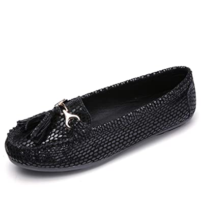 fadd7aead Amazon.com | Women Breathable Suede Leather Slip-on Tassel Buckle Loafers  Ladies Moccasins Soft Ballet Flats Shoes | Loafers & Slip-Ons