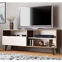 Rack para Tv até 55 Polegadas 3 Nichos 1 Porta Detroit J Carvalho Nogueira/off White