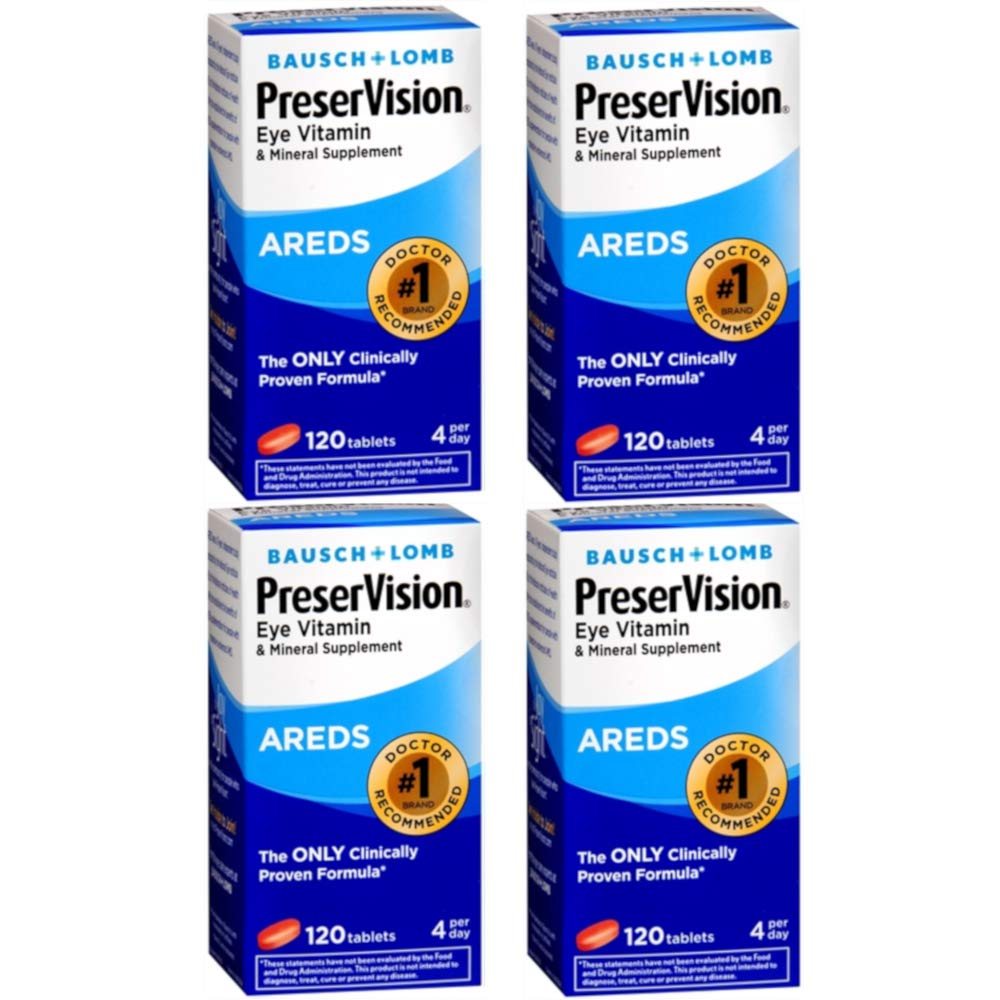 Bausch & Lomb Ocuvite PreserVision Tablets 120 Tablets (Pack of 4)