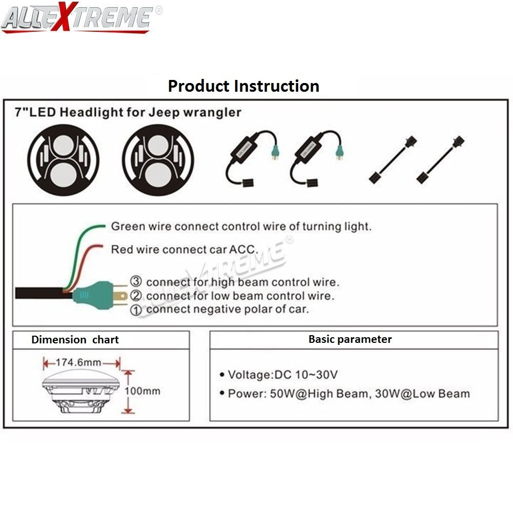 Allextreme 7 Inch Round Led Headlight With High Low Beam Conversion Switch Wiring Diagram Kit Drl Light Dot Approved For Jeep Wrangler Jk Lj Tj 75 Watt Chrome