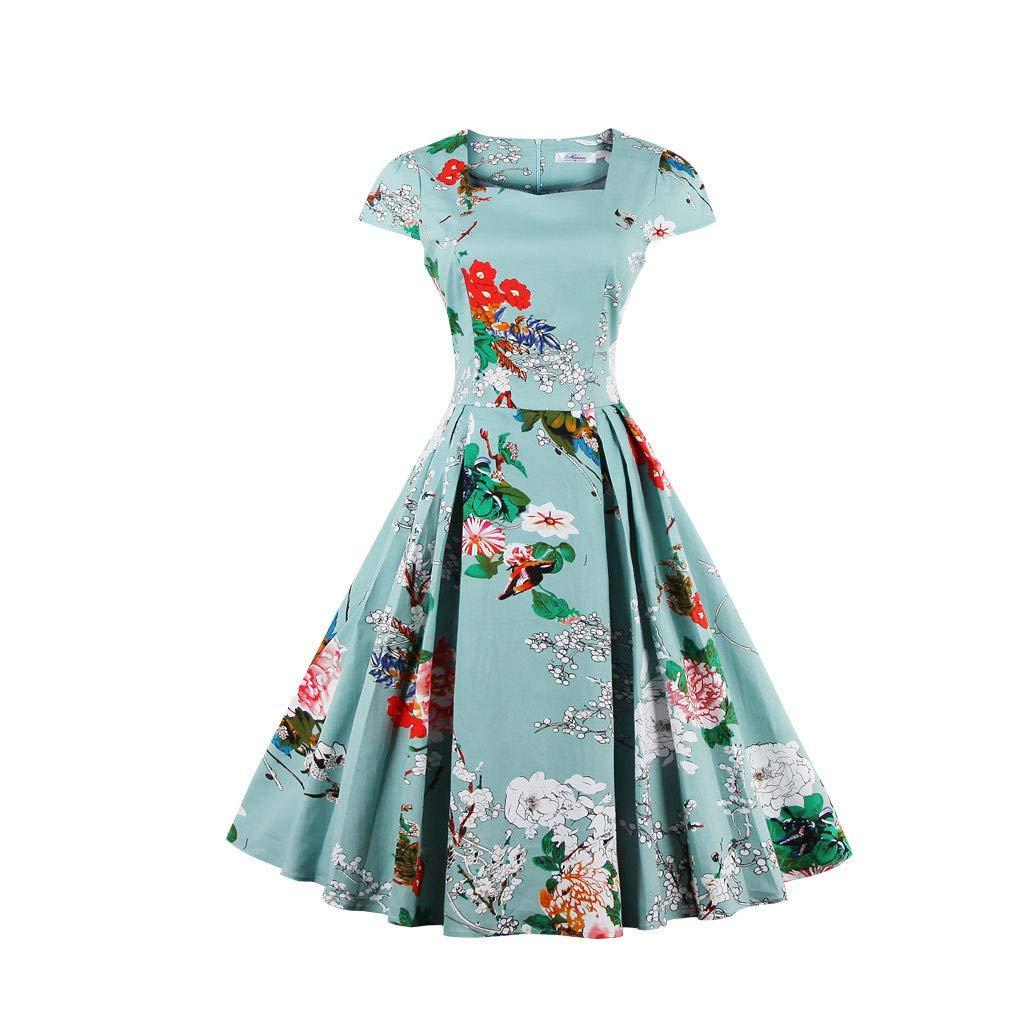 FANGTION 2019 Women Plus Size Dress Short Sleeve Floral Print Party Vintage Swing Dress Light Blue