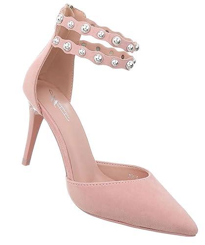 Damen Schuhe Pumps Nieten High Heels Stiletto Abendschuhe Sandaletten Rosa 40 JYi6HCzjS